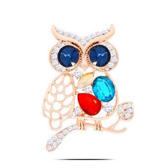 Harga FANCICO Color Fashion Owl Rhinestone Brooch Pin
