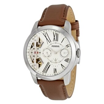 Harga FOSSIL ME1144 Grant Twist Multifunction Brown Leather Men's Watch