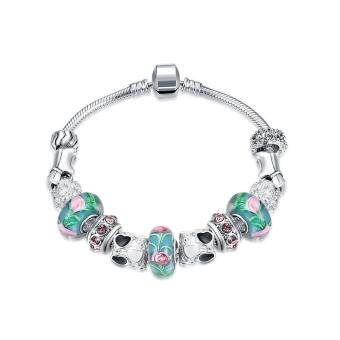 Harga 925 Silver National Style Bracelets & Bangles Handmade Colorful Jewelry-Green