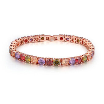 Harga Rose Gold Plated AAA CZ Stone Always Together Chain Bracelets Gift for Woman (Multicolor)