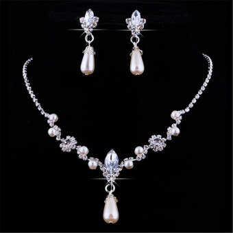 Harga Wedding Bridal party Crystal Rhinestone Pearl Necklace Earring Jewelry Set