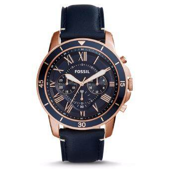 Harga Fossil Men's FS5237 Grant Sport Chronograph Navy Blue Leather Watch (Blue & Rose Gold)
