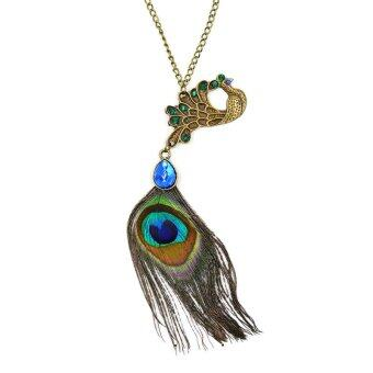 Harga ONLY Elegant Peacock Feather Bring Fortune Necklace