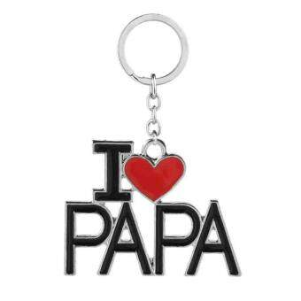 Harga Creative Family Keychain I LOVE MAMA/PAPA/MOM/DAD Pendant Keyring Fashion Gifts Souvenirs For Dad and Mom(Black) - (Intl)