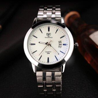 Harga YAZOLE 2017 Top Brand Luxury Famous Quartz Watch Fashion Stainless Steel Band Famous Male Wristwatch YZL296X-White