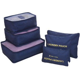 Harga Travel acking Cubes,Travel Luggage Packing Organizers Shoes Cosmetic Bag Clothes Storage Suitcase Organiser Packing Organisers Pouches Bag Cubes with Laundry Bag 6PCS Navy Blue
