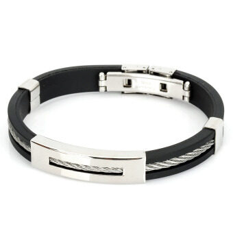 Harga Decompression Anion Silicone Non-Allergy Bracelet - Black + Silver