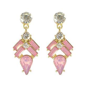 Harga Joywish New Fashion Design Gold Plated with Mixed Colors Rhinestone Drop Dangle Earrings Jewelry for Women