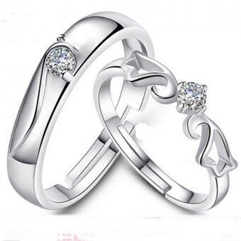 Harga 2PCS Adjustable Mosaic Zircon S925 Silver Couple Rings Lover Oath -Angel Wings