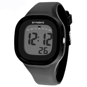 Harga Fashion Colorful Kid and Children's Silicone Sport Waterproof Digital Watches-Black(66896)