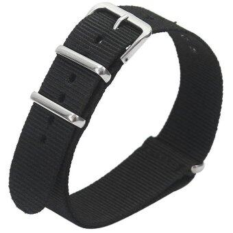 Harga Gracefulvara Men Women Nylon Sport Wrist WatchBand Strap (Black) - 22mm
