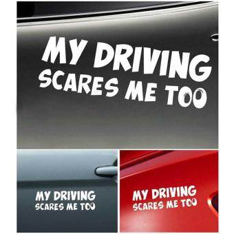 Harga White My Driving Scares Me Too Car Window Van SUV Auto Truck Warning Sticker