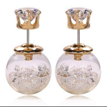 Harga FANCICO Crystal Ball Stud Earrings Women Bubble Earrings Double Sided white crystal