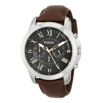 Harga Fossil Men Grant Brown Leather Strap Watch FS4813