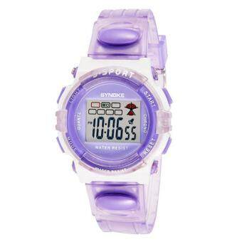 Harga SYNOKE Rubber Digital Led Wristwatch Watch for Girls Kid Children Purple