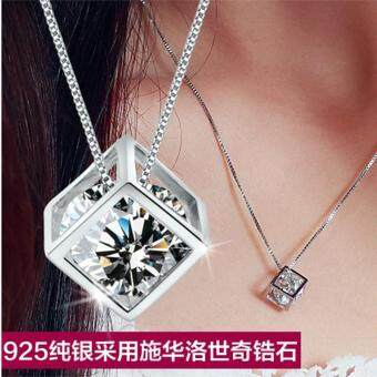 Harga Platinum Plated Love Cube Pendant Women 's Love Wall Silver Jewelry Korean Women' S Necklace Pendant