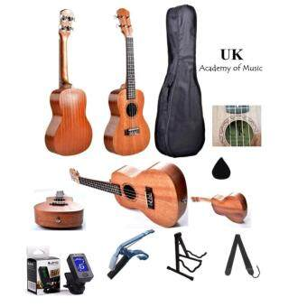 "Harga UK Concert Ukulele 24"" Inch Professional Sapelle Wood With Free Bag, Ukulele Capo, Tuner, Ukulele Stand, Ukulele Strap and Ukulele Pick"