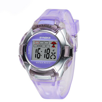 Harga Causal Fashion Children Kids Boy and Girls Alarm Waterproof Sports Watches-Purple
