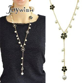 Harga Joywish Black Enamel Flower and Created Pearl Long Chain Necklace for Women