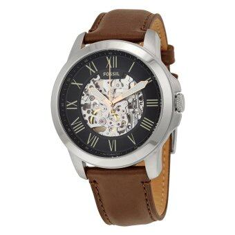 Harga Fossil Men Black Grant Skeleton Dial Automatic Brown Leather Strap Watch ME3100