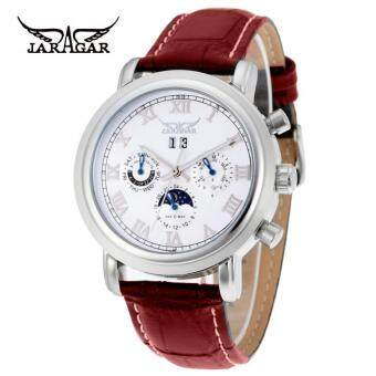 Harga (IMPORT) JARGAR Moon Phase Mens Watches Jargar Luxury Automatic Watch White Dial Mechanical Watch (Brown)