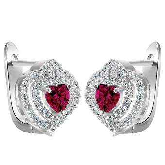 Harga Bigood Charm Plated 925 Sterling Silver Heart Red CZ Clip Earrings Ear Stud