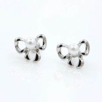 Harga FANCICO Elegant ribbon bow Pearl Stud Earrings