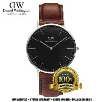 Harga Daniel Wellington Classic Black St Mawes 40MM Silver Watch (Brown)