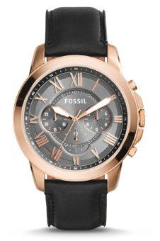 Harga Fossil Men's Grant Chronograph Black Leather Strap Watch FS5085 (Black & Rose Gold)