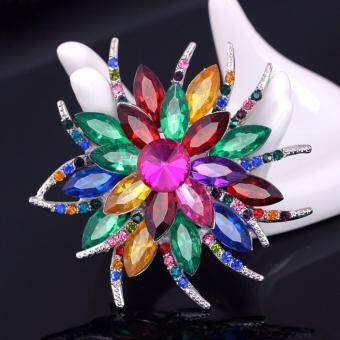 Harga FANCICO New-Fashion-Pretty-Coloful-Flower-Brooch-Pin-Rhinestone-Crystal