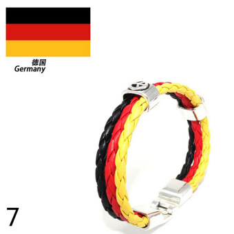 Harga World Cup FIFA Soccer Fans National Flag Color Mens Womens Leather Bracelet Germany
