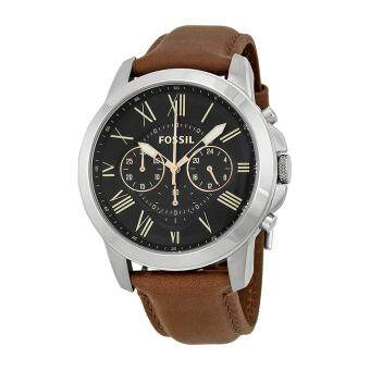 Harga Fossil Watch Grant Chronograph Brown Stainless-Steel Case Leather Strap Mens NWT + Warranty FS4813