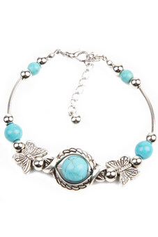 Harga Hequ Turquoise Beads Silver Plated Butterfly Handmade Bracelet