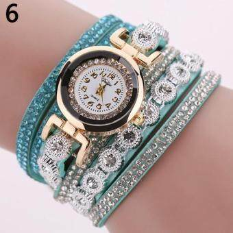 Harga DUOYA Women Multilayer Knitted Faux Leather Strap Rhinestone Bracelet Quartz Wrist Watch (Sky Blue)