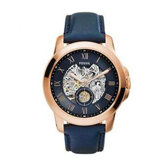 Harga GPL/ Fossil Mens ME3054 Grant Three-Hand Automatic Leather Watch - Navy Blue/ship from USA