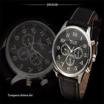 Harga JARAGAR 8307 Stainless Steel Case Synthetic Leather Strap Men Male Skeleton Automatic Mechanical Self Wind Military Sport Business Wrist Watch (Black Face)
