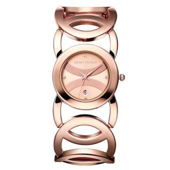 Harga JIANGYUYAN bracelet watches Brand Luxury Women watch Full Alloy Quartz Watch ladies hour With Date 380804(Rose Gold)