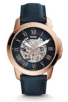 Harga Fossil ME3102 Grant Three-Hand Automatic Navy Leather Watch