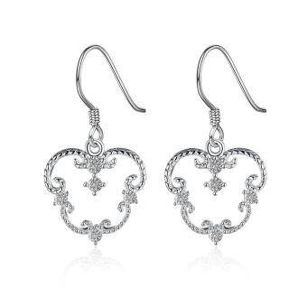 Harga Women Heart 3Cm脳1.6Cm White Silver Plated Earrings In Gold Silver Plated