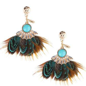 Harga Fashion National Feather Earrings Stud Blue