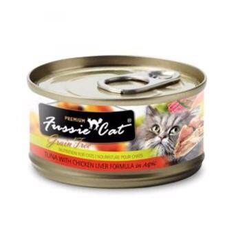 Harga FUSSIE CAT PREMIUM TUNA WITH CHICKEN LIVER 80GM (12 CANS)