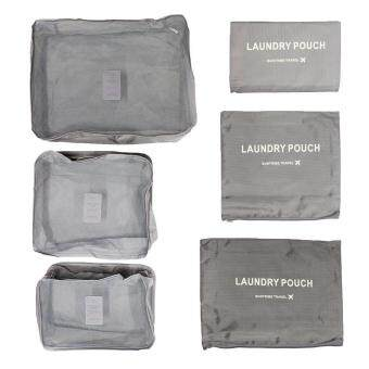 Harga leegoal KAIL 6Pcs Waterproof Travel Storage Bags Clothes Packing Cube Luggage Organizer Pouch (gray)