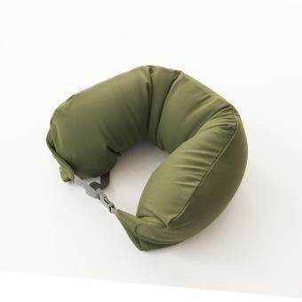 Harga MUJI Well fitted Neck Cushion U Shape Travel Neck Pillow Cushion Memory Foam Pillow Ergonomically Shaped Pillow and Seat Memory (Army Green)