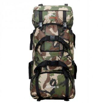 Harga Bag it out 90L Professional Mountaineering Outdoor Camping Hiking Camo Backpack Bag (Camo Green)