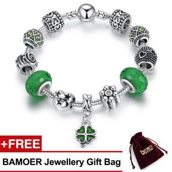 Harga BAMOER 925S Silver Charm Bracelet with Green Lucky Clover Four Leaves Clover Good Luck for Her Gift PA1487