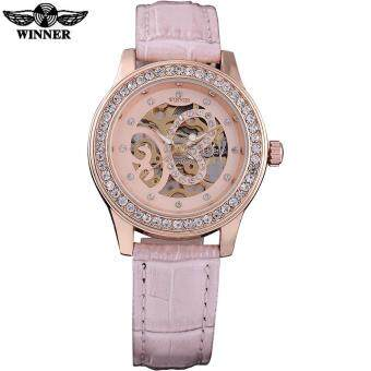 Harga WINNER 2016 china brand women watches luxury mechanical hand wind watch skeleton pink dials rhinestone leather band montre femme