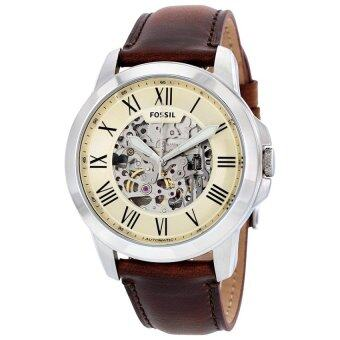 Harga FOSSIL ME3099 Grant Automatic Beige Skeleton Dial Brown Leather Men's Watch