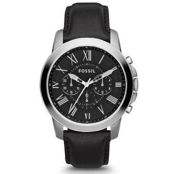 Harga Fossil Men FS4812 Grant Chronograph Black Leather Watch (Black)