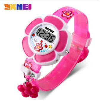 Harga 2017 New SKMEI popular Brand children kids girls fashion Sports Watches Digital LED Wristwatches purple red rubber band flower charm