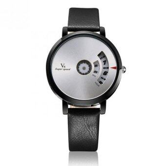 Harga V6 B004 Fashion PU Leather Band Life Water Resistant Luxury Quartz Watch-silver face black strap